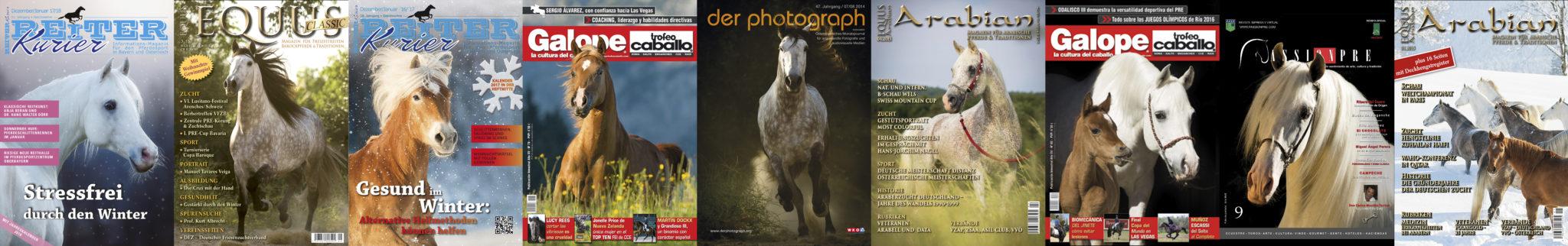 Publikationen von Julia Moll Pferdefotografin in verschiedenen Pferdemagazinen